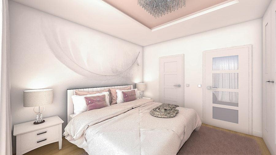 modna sypialnia w pudrowym różu